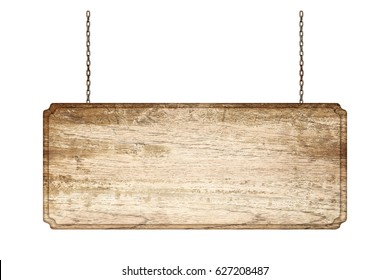 Wood sign from a chain isolated on white background