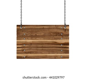 Wood sign hanging from a chain. 3d illustration