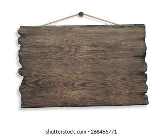 wood sign hanging on rope and nail isolated on white background