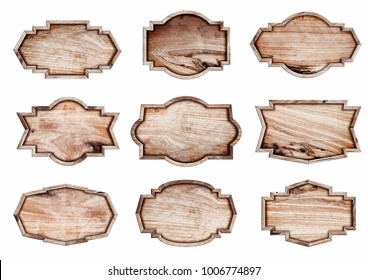 Wood sign isolated on white background,