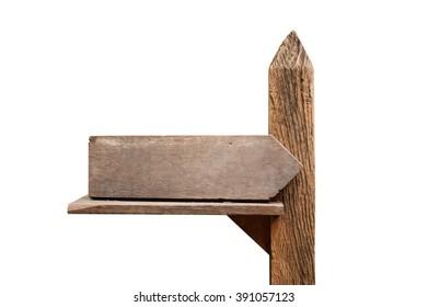 Wood sign on white background
