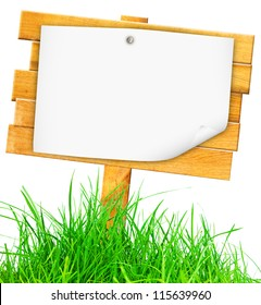 Wood signboard isolated on white with clipping path.