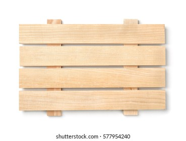 Wood slatted plank board isolated on white