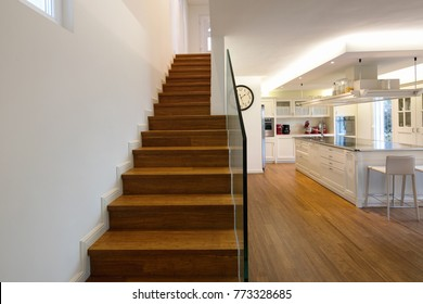 Wood staircase in moder open space