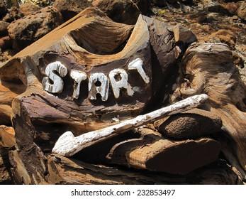 Wood Start Sign