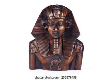 Wood statue of pharaoh Tutankhamun - egyptian souvenir. Isolated over white background
