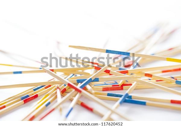 wood sticks on white background