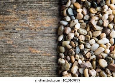 Wood and stones in different colors and shapes