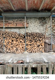 Wood storage in a rustic warehouse in the Spanish Pyrenees Europe