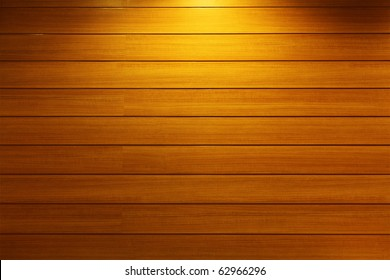 Wood Strip Wall With Light Spot