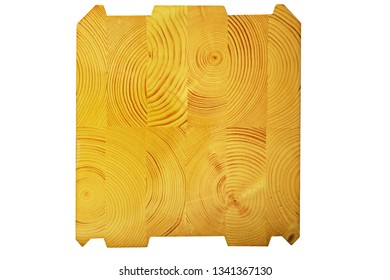 Wood structure background. Butt end of a processed wooden beam. Glued beams