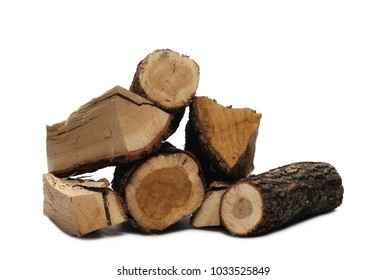 Wood stumps, for log fire isolated on white background with clipping path