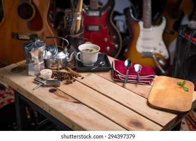 wood table background with musical instrument