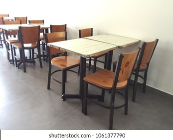Wood table at cafe