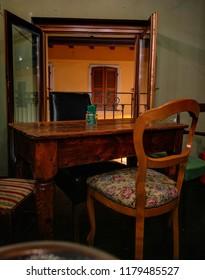 wood table chair dinner