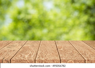 Wood table empty on blurred background,used for display products