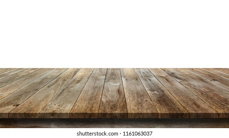 Wood table isolate on white background, wood floor - Can used for display or montage or mock up your products.