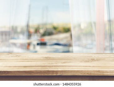 Wood table on blur background
