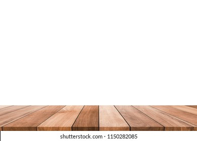 Wood table on white background / Template mock up for display of product
