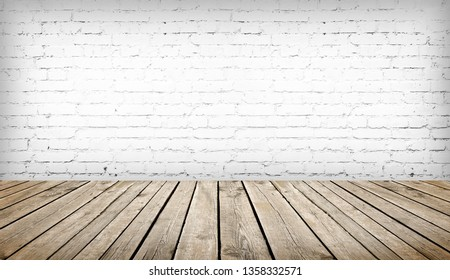 wood table over white brick wall background, template