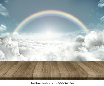 Wood table with rainbow
