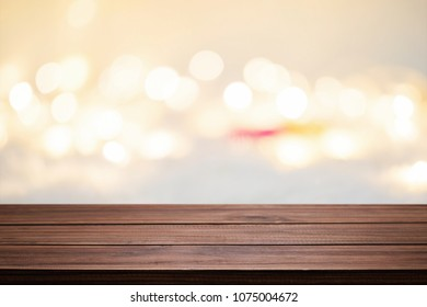 Wood table space and blurred bokeh light of coffee shop background. product display template. Business presentation