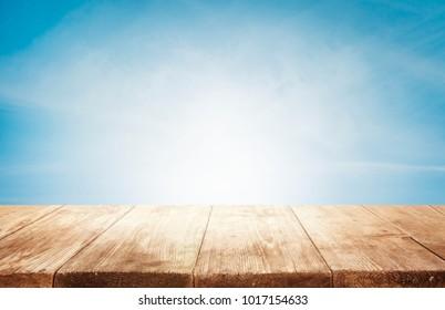 Wood Table Top Background, Empty Wooden Desk over Blue Sky Scene, Old Tables Planks Shelf