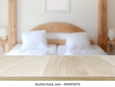 wood table top and blurred bedroom background can used for display or montage your products - Bedroom Background