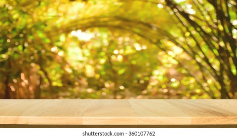 Wood table top bokeh abstract background