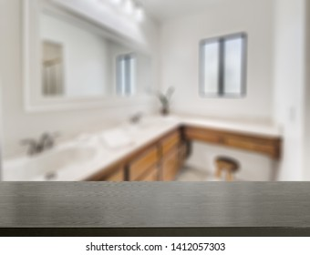 Wood table top on blur kitchen or bathroom background .For montage product display or design key visual layout. - Image