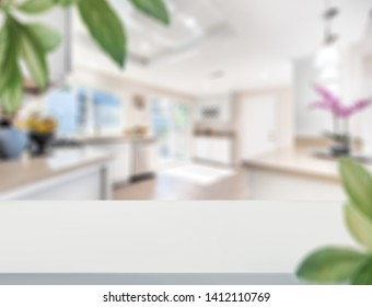 Wood table top on blur kitchen room background .For montage product display or design key visual layout. - Image