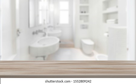 Wood table top on blur bathroom background. Mockup counter for montage product display or design key visual layout for perfume, cream or makeup