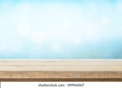 Wood table top on blur nature background