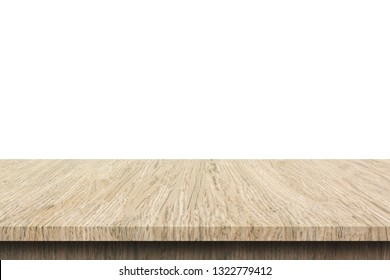 Wood table top on white background, Use as product display montage