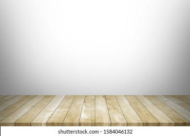 Wood table top on white background. Used for product placement or montage.
