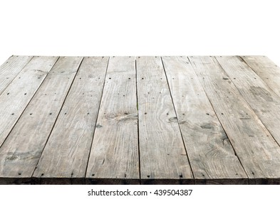 wood table top on white background, can be used for display or montage your product