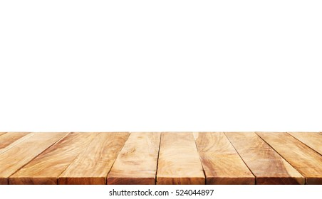 Wood table top on white background.For  create product display or design key visual layout