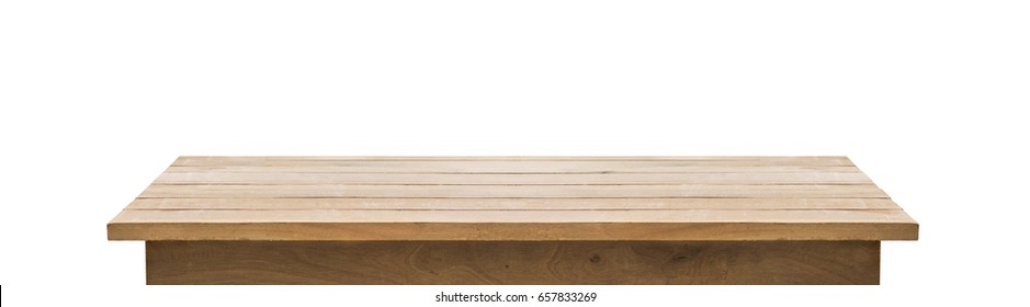 Wood table top on white background.clipping paths