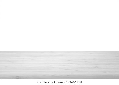 Wood table top texture in light grey color on white wall