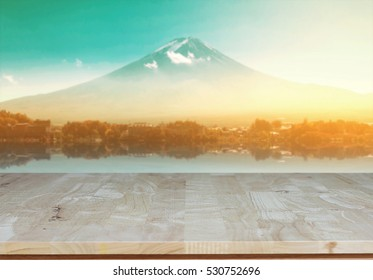 Wood table top With view fuji morning sunrise in japan