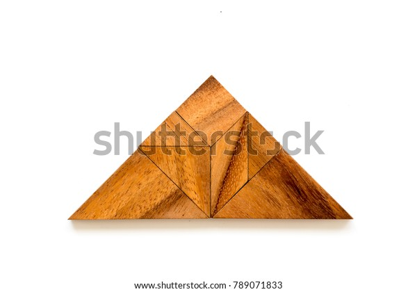 Wood tangram puzzle in triangle shape on white background