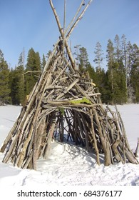Wood tepee in the meadow on a beautiful winter day in Lake Tahoe, CA