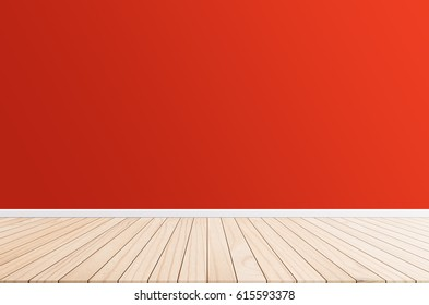 Wood terrace with a background cement wall design ideas within the building.Wood floors on background Red color.