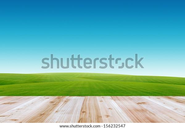 Wood terrace and blue sky