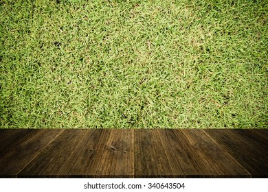 Wood terrace and Grass texture background surface natural color , process in vintage style