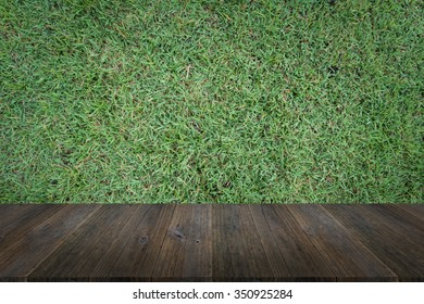 Wood terrace and Grass texture background surface natural color