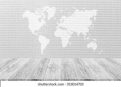 Wood Terrace And Wallpaper Interior Texture Background Surface White Color  With World Map (Outline Elements
