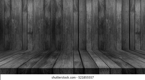 Wood texture background. black wood wall and floor