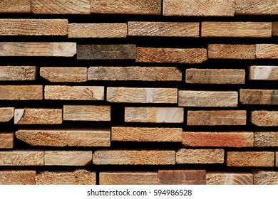 Wood Texture Background: Raw Edges of Stacked Softwood Slats