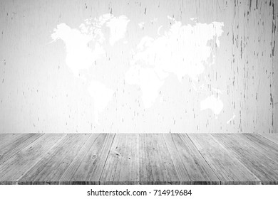 Wood texture background surface natural color , process in white color with wood terrace with world map